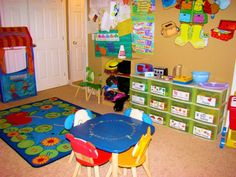 """Our Days """" page to get a better idea of how our day preschool runs Home Daycare Rooms, Preschool Rooms, Preschool At Home, Preschool Classroom, Toddler Preschool, Kindergarten Activities, Daycare Setup, Daycare Organization, Daycare Design"""