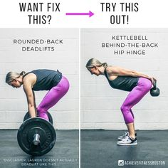 "For someone who's never deadlifted before it can be quite confusing to perform a hip hinge. Enter the ""kettlebell behind the back hip hinge""! To perform this exercise:1️⃣Stand with your feet about shoulder width apart with your feet slightly flared and with a kettlebell behind your back2️⃣Pull your shoulder blades back and maintain that position while you shift your weight back3️⃣Push your hips back and knees out to the sides, and allow your torso to come down towards"