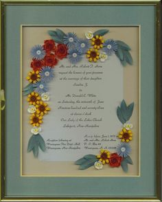Quilled Victorian Heirloom Wedding Invitation Keepsake Framed Gift | QuillingbySandraWhite - Wedding on ArtFire