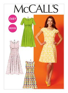 M6958 | Misses'/Miss Petite/Women's/Women's Petite Tuck-Waist Dresses Sewing Pattern | McCall's Patterns