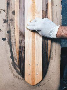 The making of Side Project Skateboards Make A Skateboard, Made Design, Wood Slab, Custom Leather, Skateboards, Wood Species, Hardwood, Woodworking, Milk