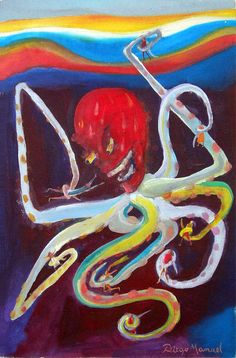 Pulpo 4, acrylic on canvas, 27 x 42 cm. , 2010. Painting of the Serie Pop…
