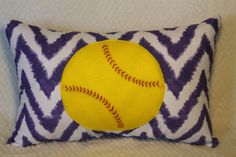 Softball Purple Chevron 14x20 inch Throw Pillow by DuxiDesign, $35.00