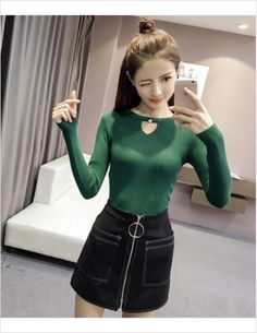 Wholesale price: US$ 10.29 Cheapest The New Fashion Long Sleeves Sets The Bottom Shirt Green