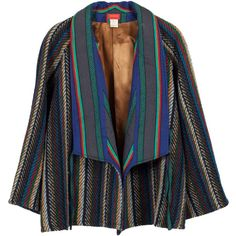 Pre-owned Kenzo Ethnic Stripe Coat 1980's featuring polyvore, fashion, clothing, outerwear, coats, coats and outerwear, striped coat, kenzo, oversized coat, 80s fashion and tweed coat