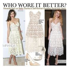 """Who Wore It Better?Miranda Kerr or Bella Thorne in Self-Portrait Azaelea floral-lace dress"" by kusja ❤ liked on Polyvore featuring Stuart Weitzman, women's clothing, women, female, woman, misses, juniors, WhoWoreItBetter, mirandakerr and BellaThorne"