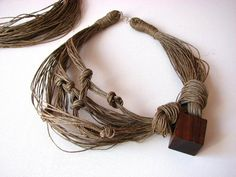 RESERVED  Exotic Woods - linen necklace