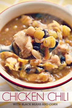 Chicken Chili with Black Beans and Corn Recipe... Oh yum! the36thavenue.com