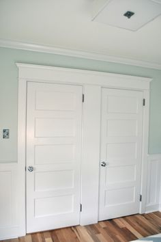 door trim with wainscot idea. I like that the doors are trimmed together.