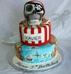 treasure map themed cakes | Pirate Sculpted Skull Sword and Painted Treasure Map Birthday Cake