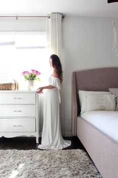 Maternity Gown fitted maternity dress the off shoulder