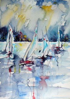 ARTFINDER: Sailboats on sea by Kovács Anna Brigitta - Original watercolour painting on high quality watercolour paper. I love landscapes, still life, nature and wildlife, lights and shadows, colorful sight. Thes...