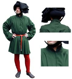 Surcoat closure hooks, Medieval - Medieval Clothing - Medieval Costume (Man) - Model front opening with metal hooks.