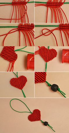 Like the red braided heart hanging ornament?The tutorial will be published by LC… – Macrame Bracelets Macrame Necklace, Macrame Jewelry, Macrame Bracelets, Handmade Bracelets, Macrame Bracelet Tutorial, Macrame Owl, Micro Macrame, Bee Crafts, Yarn Crafts
