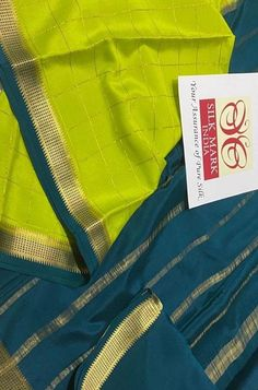 Green Checks Handloom Mysor... Crepe Silk Sarees, Silk Crepe, Green Fabric, Silk Fabric, Mysore Silk Saree, Color Schemes, Pure Products, Sewing, R Color Palette