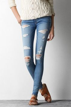 American Eagle Outfitters Vintage Teal Destroyed Jegging Jeans
