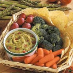 Asparagus Guacamole  One serving (1/3 cup guacamole) equals 42 calories, 2 g fat (trace saturated fat), 2 mg cholesterol, 240 mg sodium, 5 g carbohydrate, 1 g fiber, 3 g protein. Diabetic Exchanges: 1-1/2 vegetable.