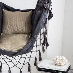 Hammock Chair - Charcoal Provincial #charcoal #charcoal-hammock #cream-hanging-chair