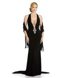 Terani Couture Beaded-Back Halter Gown