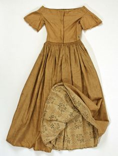 Late 1840s American silk and cotton dress