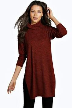 Tall Ghaia Knitted Rib Roll Neck Jumper