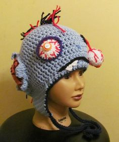 Zombie hat w/ bullet and exit wound blue mohawk kid size ready to ship | tinybully - Accessories on ArtFire