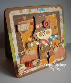Fall Card Scarecrow Card Thanksgiving card by CraftyClippingsbyPeg