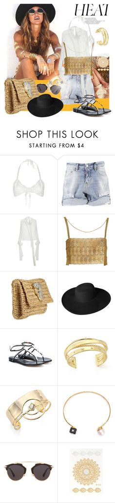 """""""Sun rays...."""" by sue-mes ❤ liked on Polyvore featuring All That Remains, Dsquared2, Flora Bella, Dorfman Pacific, Tabitha Simmons, Elizabeth and James, Alexis Bittar, Nektar De Stagni and Christian Dior"""