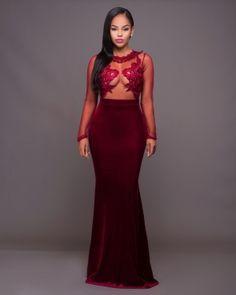 ddeab0e3f0 Sexy Applique Lace Velvet Fabric Romantic Evening Gown 23791-1 US 11.5 Prom  Party Dresses