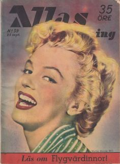 Allas Veckotidning - September 25th 1953, magazine from Sweden. Front cover photo of Marilyn Monroe by Rod Tolme, 1952.