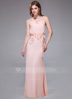 Evening Dresses - $146.99 - Mermaid Scoop Neck Floor-Length Chiffon Evening Dress With Lace Beading Sequins (007025453) http://jjshouse.com/Mermaid-Scoop-Neck-Floor-Length-Chiffon-Evening-Dress-With-Lace-Beading-Sequins-007025453-g25453