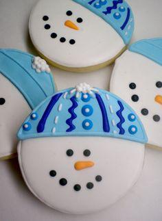 Birthday Cake Cookies, Cupcake Cookies, Iced Cookies, Cupcakes, Christmas Cookies Gift, Christmas Sweets, Christmas Parties, Christmas Snowman, Sugar Cookie Frosting