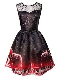 smileq women christmas print dress sleeveless lace crochet swing plus size xmas party dresses