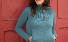 Faverolle sweater knitted by Falling Stitches.