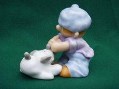 Enesco Ceramic Pulling Together Boy Dog 1989 by EauPleineVintage