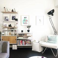 New wall layout @stringfurniture @bobandfriend @nest_direct #stringfurniture #nz #auckland #cityliving #apartment #aparmentliving #shelves #books #readingchair #white #wall #livingroom #muji #monoclemagazine