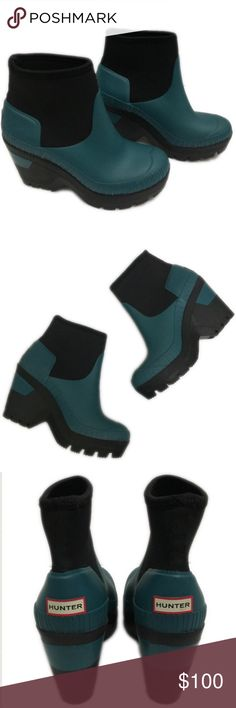 """NWOT Hunter Original Deep Sea Wedge Bootie,6 (UK4) Inspired by a deep-sea theme from their archives, Hunter offers a handmade wedge bootie that features a stretchy neoprene shaft and a traction-gripping sole—so you can face the rainiest of days in fearless fashion. 3 1/2"""" heel; 4 1/2"""" boot shaft. NWOT, will be shipped without its box. Hunter Shoes Winter & Rain Boots"""