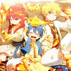 Magi: The Labyrinth of Magic - Morgiana, Aladdin, and Alibaba ❤ Anime Magi, Manga Anime, Manado, Hakuryuu Ren, Magi Adventures Of Sinbad, Magi Kingdom Of Magic, Magi 3, Sinbad Magi, Anime Characters