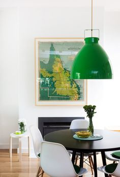 vintage map + green pendant + white eames. Fresh.