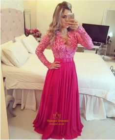 vampal.co.uk Offers High Quality Pink Floor Length A Line Beaded Bodice Chiffon…