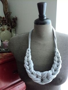 Laurel Looped Jersey Necklace  Heather Grey by AshenDrift on Etsy, $55.00