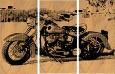 Vintage Harley Motorcycle Screen Print Wood Painting Wall Art on Stained Solid BIRCH 3/4 inch thick  SEE IT IN ETSY!! https://www.etsy.com/listing/178670859/vintage-harley-motorcycle-screen-print?ref=shop_home_active_3