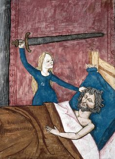 Judith Speculum humanae salvationis, France 1470-1480 Marseille, Bibliothèque municipale, ms. 89, fol. 30v Medieval Life, Medieval Art, Medieval Manuscript, Illuminated Manuscript, Judith And Holofernes, Bible Images, Early Modern Period, Medieval Paintings, Late Middle Ages