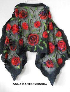 nuno felted silk scarf shawl wrap RED ROSES art by kantorysinska