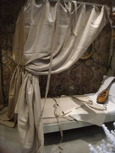 Fabulous French linen canopy bed  Oh, la, la what beautiful music one could make here. AFS