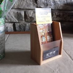 Walnut brochure holder and business card display small multiple oak brochure holder brochure display brochures desk accessory office supplies colourmoves