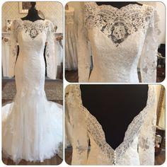 Intuzuri Darcey Vintage Lace Inspired Long Sleeve Low Back Fishtail Wedding Dress Size 14 Holmfirth DressesWest YorkshireBoho