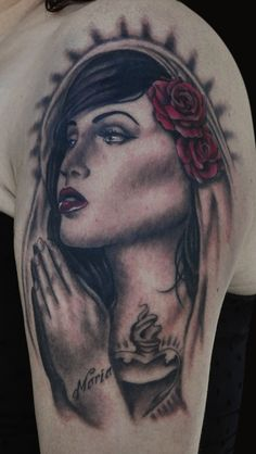 Virgin Mary - Upper Arm Tattoo - Sacred Heart - Rose - Black, Grey, Red
