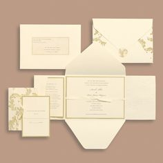 """Brides.com: Brides Wedding Collection. """"Ivory Flourish"""" wedding invitation by Brides Wedding Collection   Available at Michaels stores nationwide. Find a location near you."""