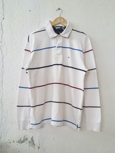 fb9665d6c Tommy Hilfiger Polo Long Sleeve Stripe Rugby Shirt Size L|Measurement  details; armpit: